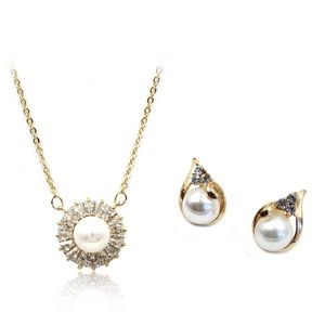 Full crystal pearl necklace earrings set